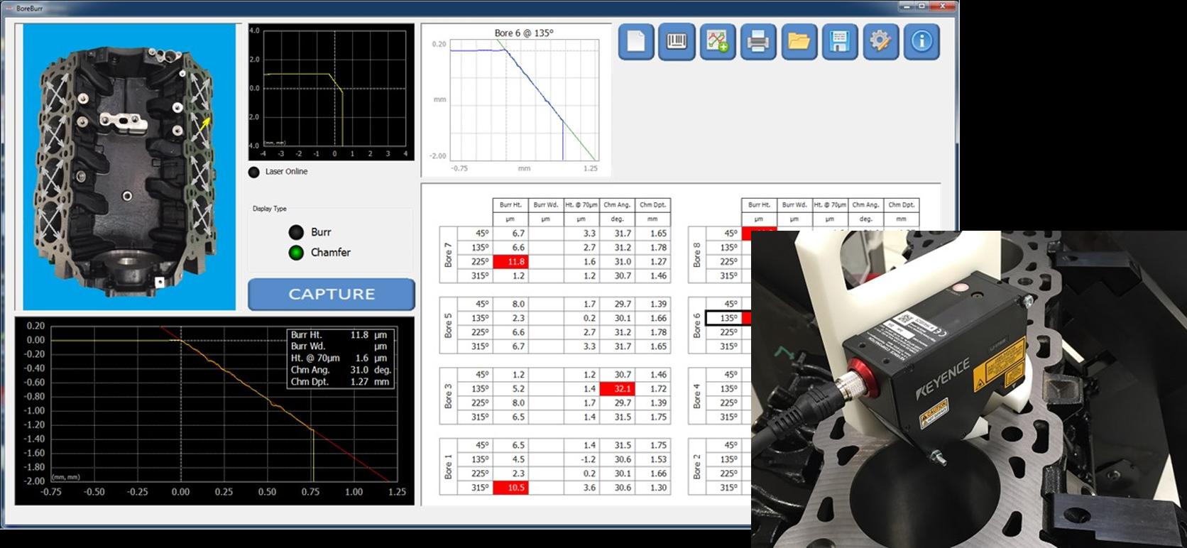 Laser-based burr measurement for cylinder bores.