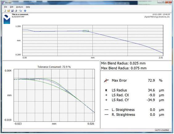 Digital Metrology Blender Blend and Edge Break Measurement Software