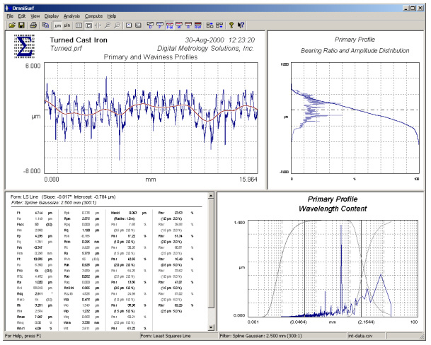 Digital Metrology OmniSurf surface profile analysis software