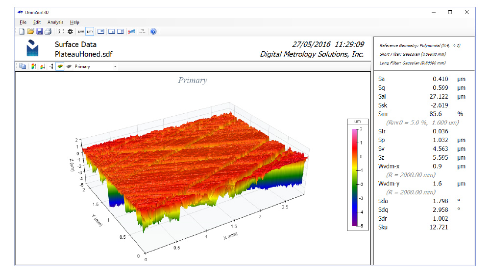 Digital Metrology OmniSurf3D surface texture analysis software