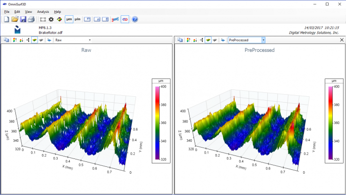 Bi-linear filling of missing data. OmniSurf3D's dual visualization shows the pre-processed data on the left and the processed data on the right, clearly showing the effect of the operation. Image Courtesy Michigan Metrology.