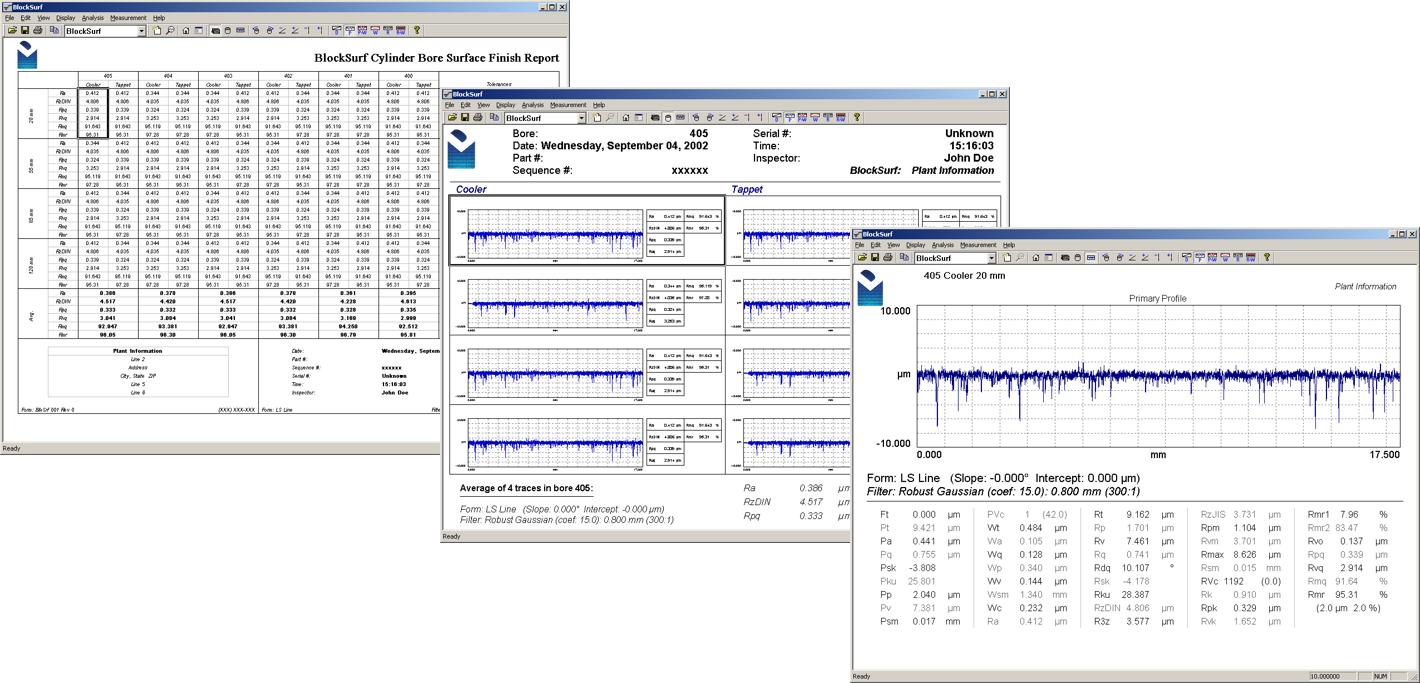 Digital Metrology-BlockSurf Engine Block Surface Texture Measurement and Analysis Software