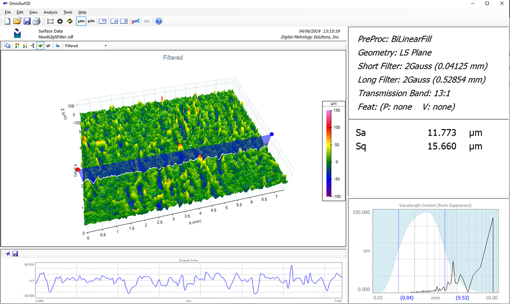 Digital Metrology - Interactive Bandpass Filter Applied to Show Non-Dominant Spatial Wavelengths